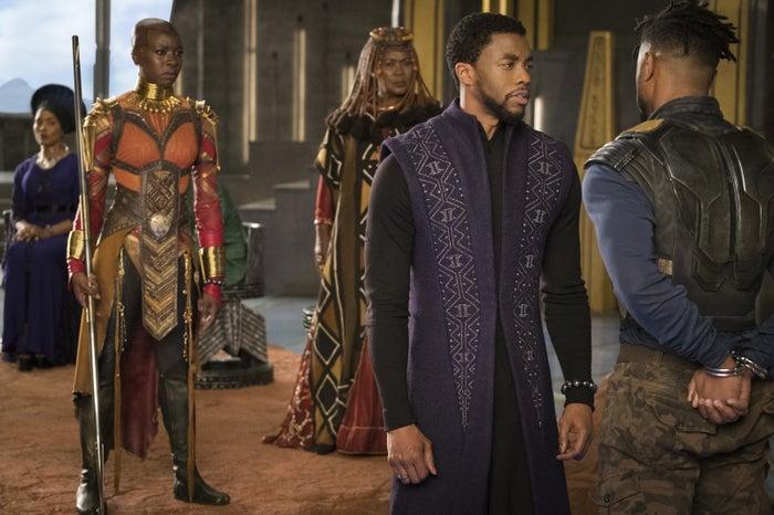Angela Bassett, Danai Gurira, Connie Chiume, Chadwick Boseman, Michael B. Jordan in Black Panther.