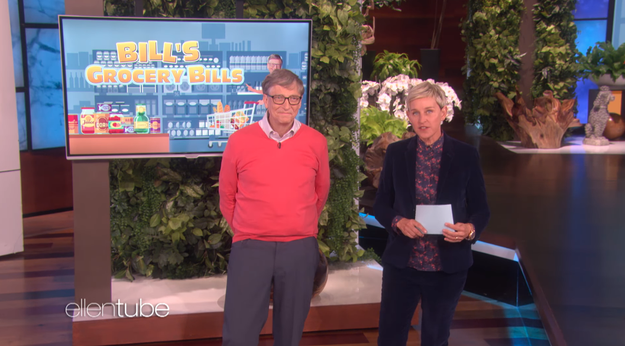 And since it was his first time on the show, Ellen decided they should play a game. And what game do you play with one of the richest men in the world? Guess the Grocery Store Prices, of course!