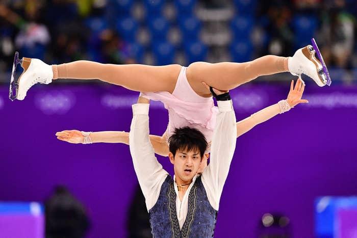 Japan's Ryuichi Kihara and Miu Suzaki compete in the pair skating free skating program Feb. 11.