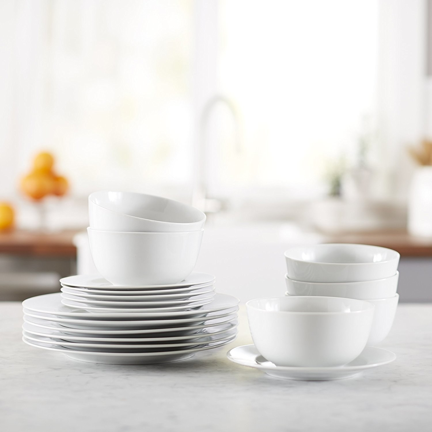 Service for six includes six dinner plates six dessert plates and six bowls made & 15 Of The Best Dishware Sets You Can Get On Amazon