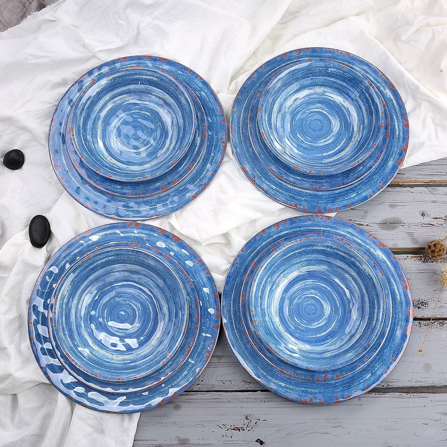 Service for four includes four dinner plates four salad plates and four bowls made & 15 Of The Best Dishware Sets You Can Get On Amazon