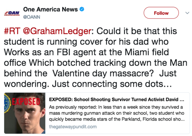 "In fact, on Tuesday, Donald Trump Jr. liked two tweets that pushed the theory that one of the Parkland, Florida, shooting survivors, 17-year-old David Hogg, was ""coached"" in his efforts to advocate for gun control legislation."