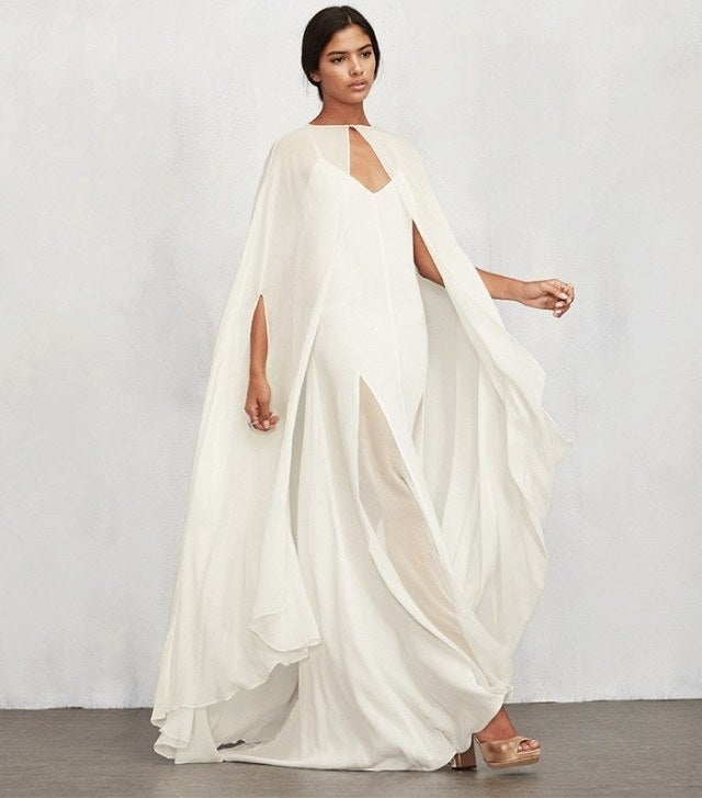 Please don't tell Edna Mode (or Solange, who did this years ago), but Pinterest says wedding capes are IN, and searches for them are up 88% over the last year.