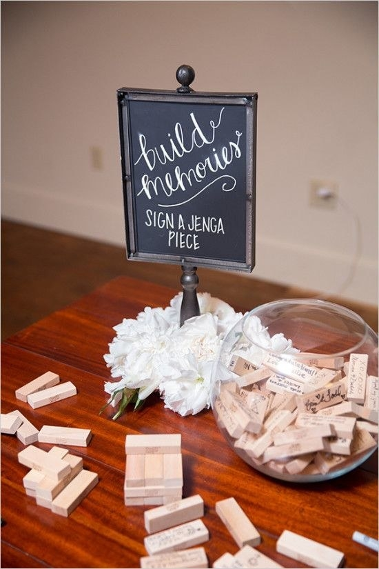 Jenga piece guest books.