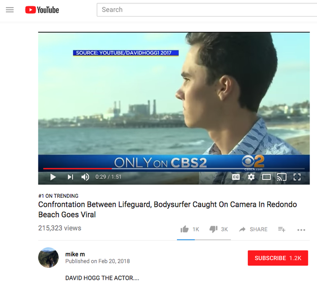 """A video calling David Hogg — a 17-year-old survivor of the Florida school shooting — an """"actor"""" was the No. 1 trending video on YouTube on Wednesday, prompting massive backlash against the company."""