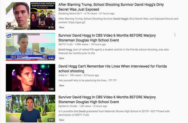 """However, YouTube did not address why search results for """"David Hogg"""" listed multiple conspiracy videos attacking the teen with false allegations of being a crisis actor and for forgetting his rehearsed lines during a television interview."""