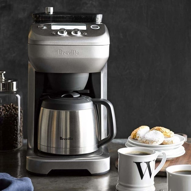 A Breville coffee maker and grinder with eight strength settings, programmable auto-start, and LCD screen so you can stay in control of all of the brewing magic.