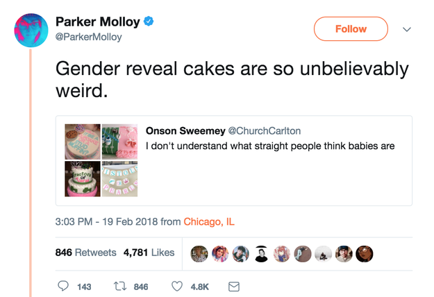 The tweet, which has now been reweeted more than 55,000 times, started a whole thread about the cakes.