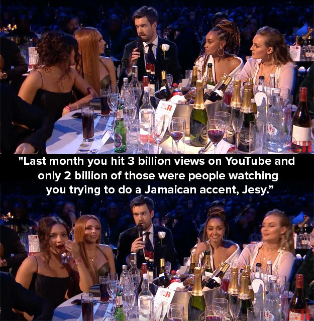 When host Jack Whitehall said this savage line to Jesy from Little Mix and she did not seem best pleased.