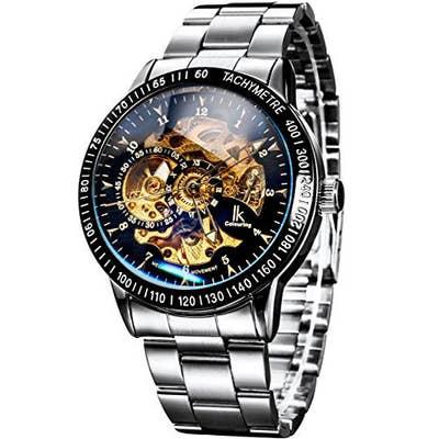 672ef6ae00d0 Este reloj de cuerda con fondo transparente en el que puedes ver todo lo  que es necesario para que un reloj funcione.