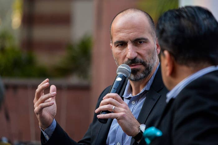 Uber CEO Dara Khosrowshahi at a conference in New Delhi on Feb. 22.