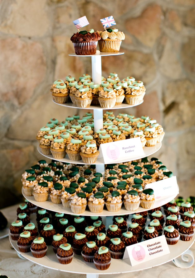 "The couple also took the avocado theme to their wedding. ""Instead of cutting a cake, we cut an avocado. For the guests we served mini cupcakes decorated with avocados!"