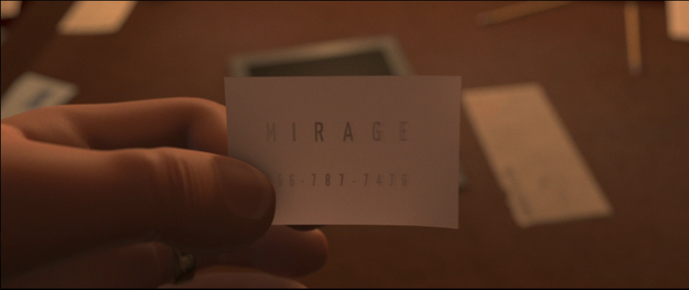 "In The Incredibles, the numbers on Mirage's business card (787-7467) spell out ""SUPRHRO"" on a keypad."