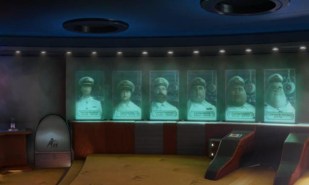 Also in Wall-E, AUTO appears closer in each of the captain's portraits, representing his gradual takeover of the Axiom.