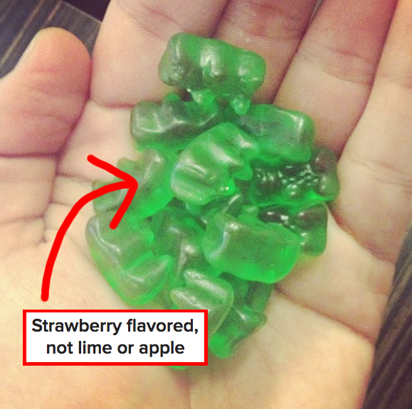Green gummy bears are actually strawberry flavored.