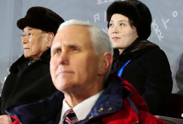 Vice President Mike Pence, North Korea's nominal head of state Kim Yong Nam, and North Korean leader Kim Jong Un's younger sister Kim Yo Jong attend the opening ceremony Feb. 9.