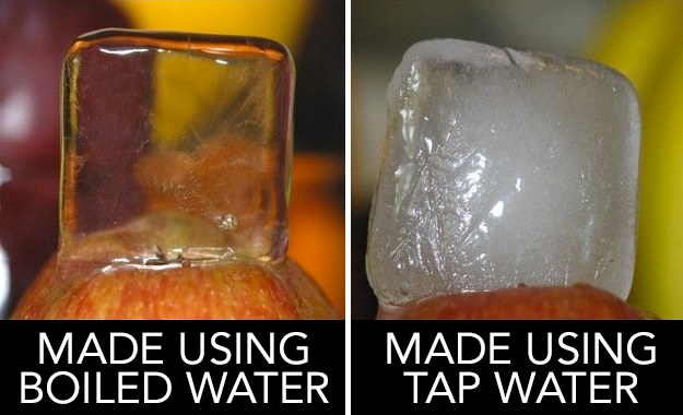 Get crystal clear ice cubes that will impress any guest you have over for drinks by boiling your water before freezing it.