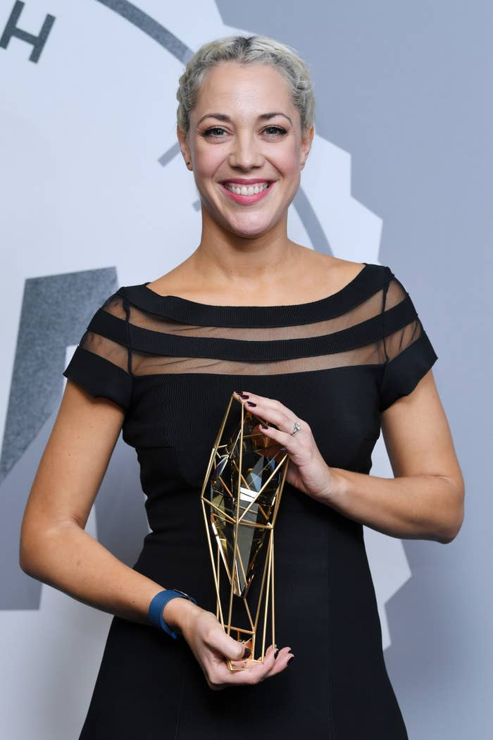 Camille Gatin receiving her Breakthrough Producer prize at the British Independent Film Awards for The Girl With All the Gifts