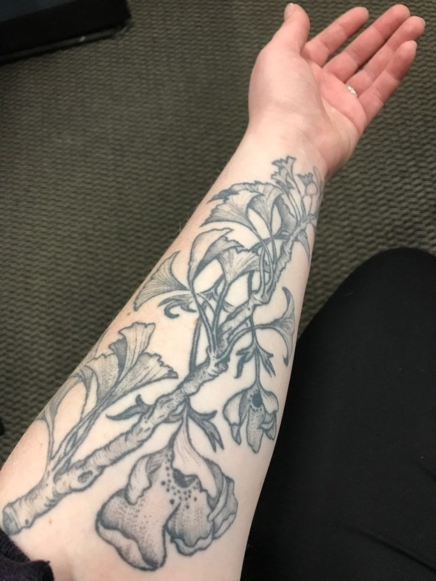 """I got this tattoo two years ago now, about four months after my mom died of breast cancer. The ginkgo tree is one of the oldest tree species in the world, and thrives in all kinds of environments. For that reason, in many cultures, it is a symbol of the connection between generations, and of perseverance in the face of adversity. The anemone flower is one of my very favourites and a symbol of the process of healing *through* grief."" — hufflepufflinallday"