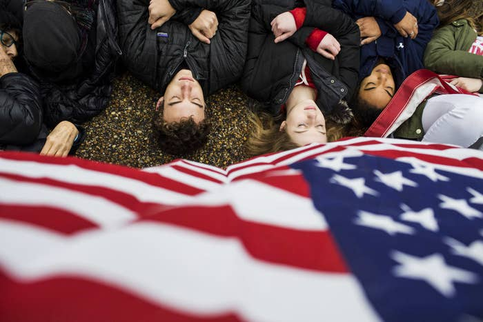 Demonstrators during a lie-in demonstration supporting gun control reform near the White House on Feb. 19.