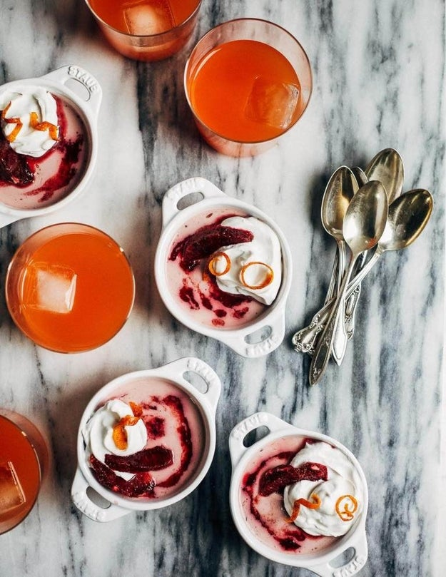 Blood Orange Panna Cotta with Vanilla-Infused Coconut Milk