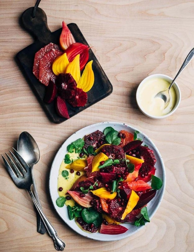 Blood Orange and Beet Salad with Grapefruit Aioli