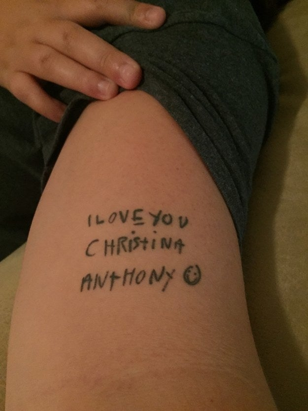 """My older brother has Down Syndrome and he wrote me this note when I went off to college. I got it in his handwriting as well. I've always said he's the only person's name I'd ever get tattooed on me."" — christinav4fd89592d"