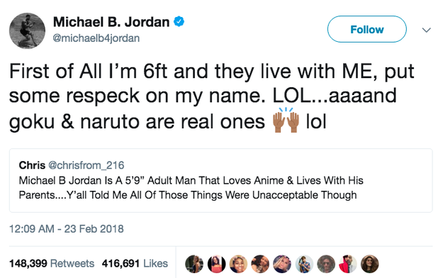 """But you should know better than to come for Killmonger. Michael was not having it at all, and replied with an expert """"first of all..."""" clapback."""