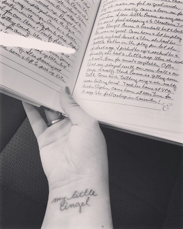 """My grandmother took care of me since I was born. She kept a journal of the first year of watching me with every movement I made! She passed away on my birthday this October and I decided to get a tattoo done in her handwriting. She always referred to me as ""my little angel"" in the journal. I was her's, but now she's mine."" — emmaf45380552f"
