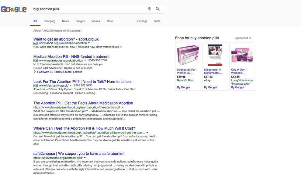 If You Google Abortion Pills You Ll Get Sponsored Ads For Anti Abortion Groups