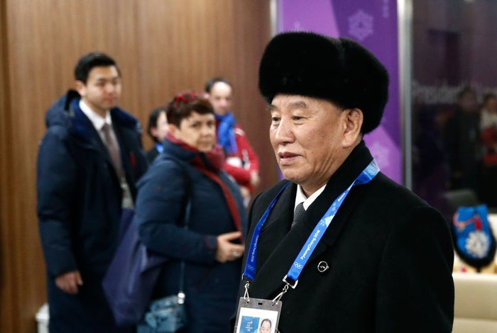 Kim Yong Chol, vice chair of North Korea's ruling Workers' Party Central Committee, arrives for the closing ceremony of the 2018 Winter Olympics.