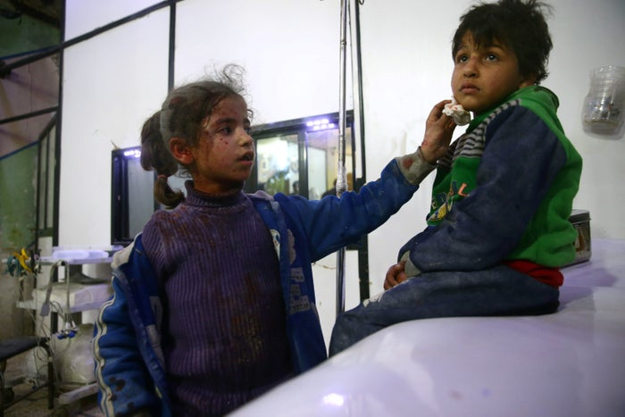 Wounded children in a hospital in Douma, Eastern Ghouta, 23 February.