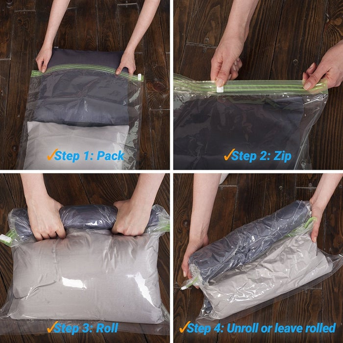 """Promising Review: """"These were the things I never knew I needed for traveling. They work just as advertised and are really useful when going on a trip. I always hate at the end of a trip having to mix dirty and clean clothes — a 'laundry bag' or plastic shopping bag never really felt like a good enough separation. These bags seal up and conceal the most stinky, wet clothes from your clean, unused clothes. They are going to be one of my new necessities for my big family when traveling."""" —DenimbutterflyPrice: $15.84"""