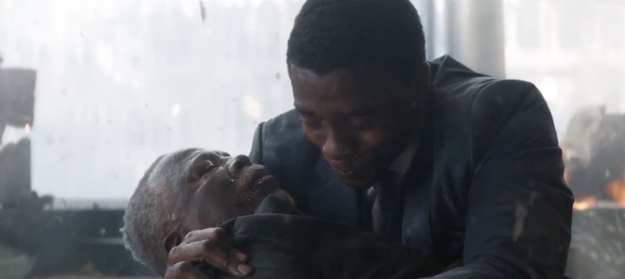 And finally, Killmonger and T'Challa cradled their respective dead fathers in a similar fashion.