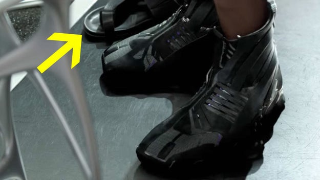 And it turns out those sandals that Shuri makes fun of are actually Alexander McQueen shoes!
