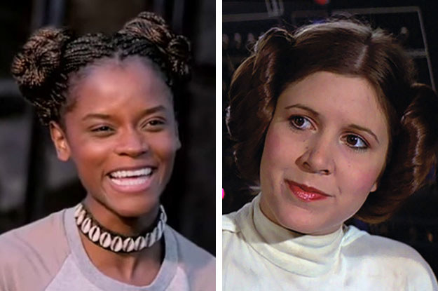 At one point, Shuri wears her hair in two buns, a nod to fellow Disney princess, Princess Leia's look in A New Hope.