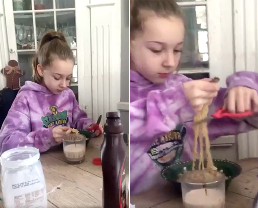 This girl, who cuts unruly noodles with scissors: