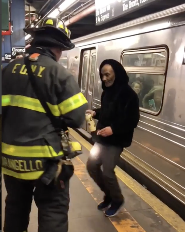 And strolled onto the platform like nothing had happened. When confronted by firefighters, he just did a little jig.
