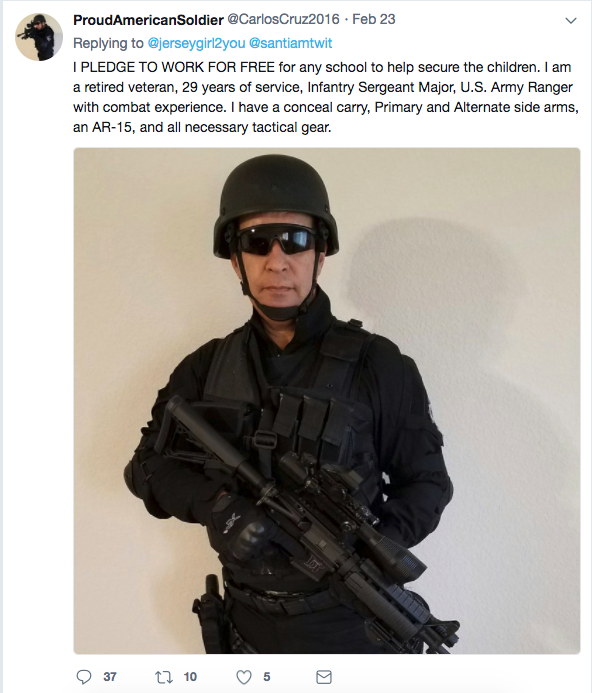 """On Friday, a Twitter user who goes by """"Proud American Soldier"""" joined in the debate about armed guards at schools. He declared he was armed, ready, and able to defend schools. """"I PLEDGE TO WORK FOR FREE,"""" he said."""