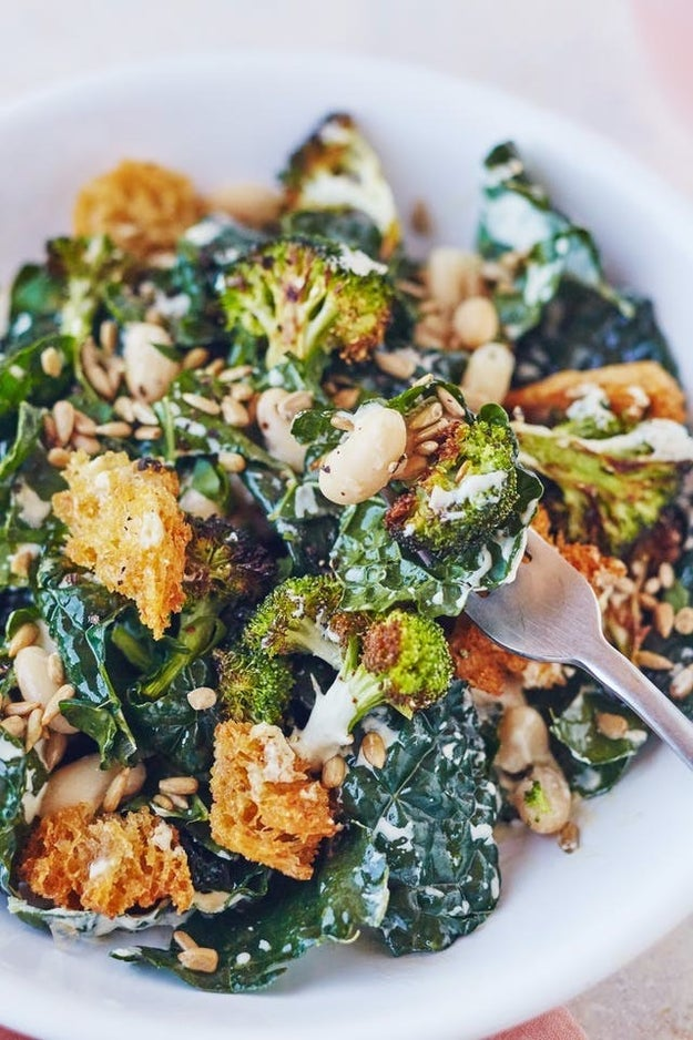 Broccoli and Kale Caesar Salad