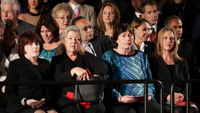 Candice Jackson (far right) sits with Kathleen Willey, Juanita Broaddrick, and Kathy Shelton before the presidential debate on Oct. 9, 2016.