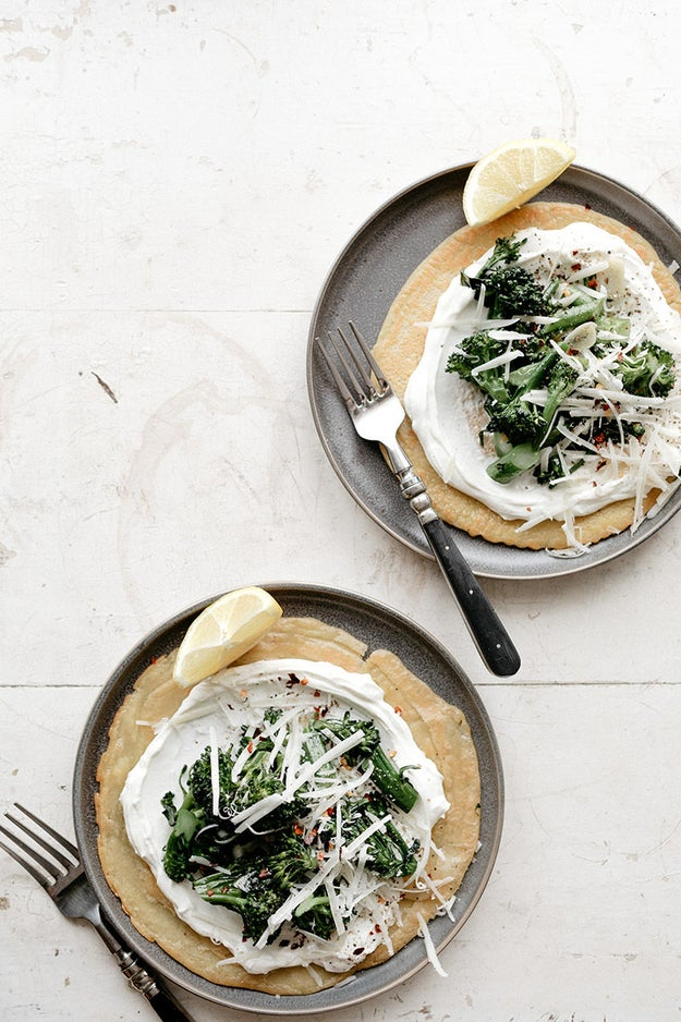 Socca With Yogurt and Garlic Broccolini