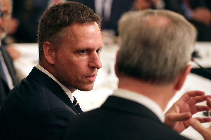 Peter Thiel attends a meeting of the White House American Technology Council in the State Dining Room of the White House on June 19, 2017.