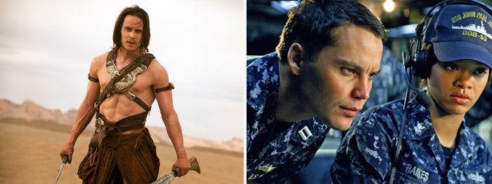 Taylor Kitsch in John Carter (left) and Battleship.