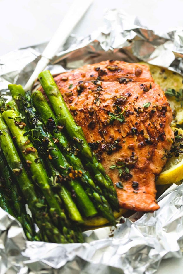 Herb Butter Salmon and Asparagus Foil Packets