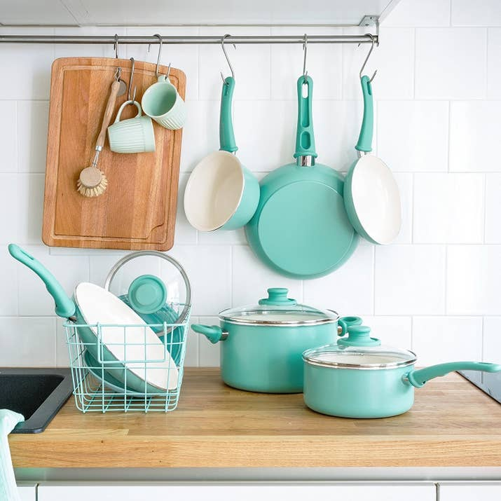 A Set Of Ceramic Non Stick Cookware Because Nothing Screams Life More Than Matching Pots And Pans Also I Can T Get Over This Color