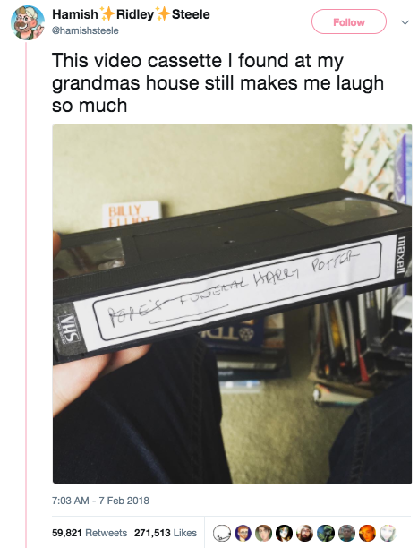 This grandma, who gave no fucks about taping Harry Potter over the pope's funeral: