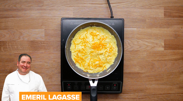 Emeril Lagasse's was up first. He puts the eggs in a blender, along with some heavy cream, salt, and white pepper.
