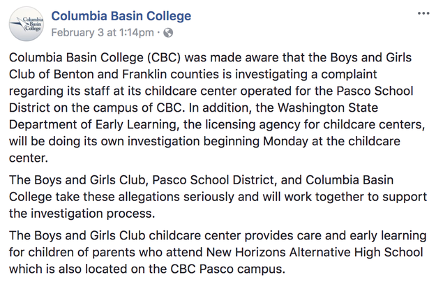The daycare center – located at Columbia Basin College – is run by the Boys and Girls Club of Benton and Franklin Counties. The college issued the following statement on Facebook: