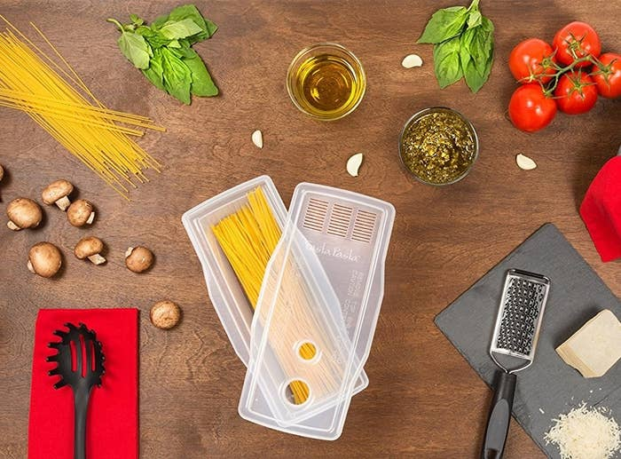 """Promising review: """"I live alone and find I use the microwave for a lot of my cooking. I use the microwave for steaming veggies, rice, and now with this simple tool pasta! The Fasta Pasta makes microwave cooking pasta for one much easier. When I want pasta, it's quick and easy, and the draining lid means a little less cleanup."""" —Stephanie SullivanGet it from Amazon for $14.99."""